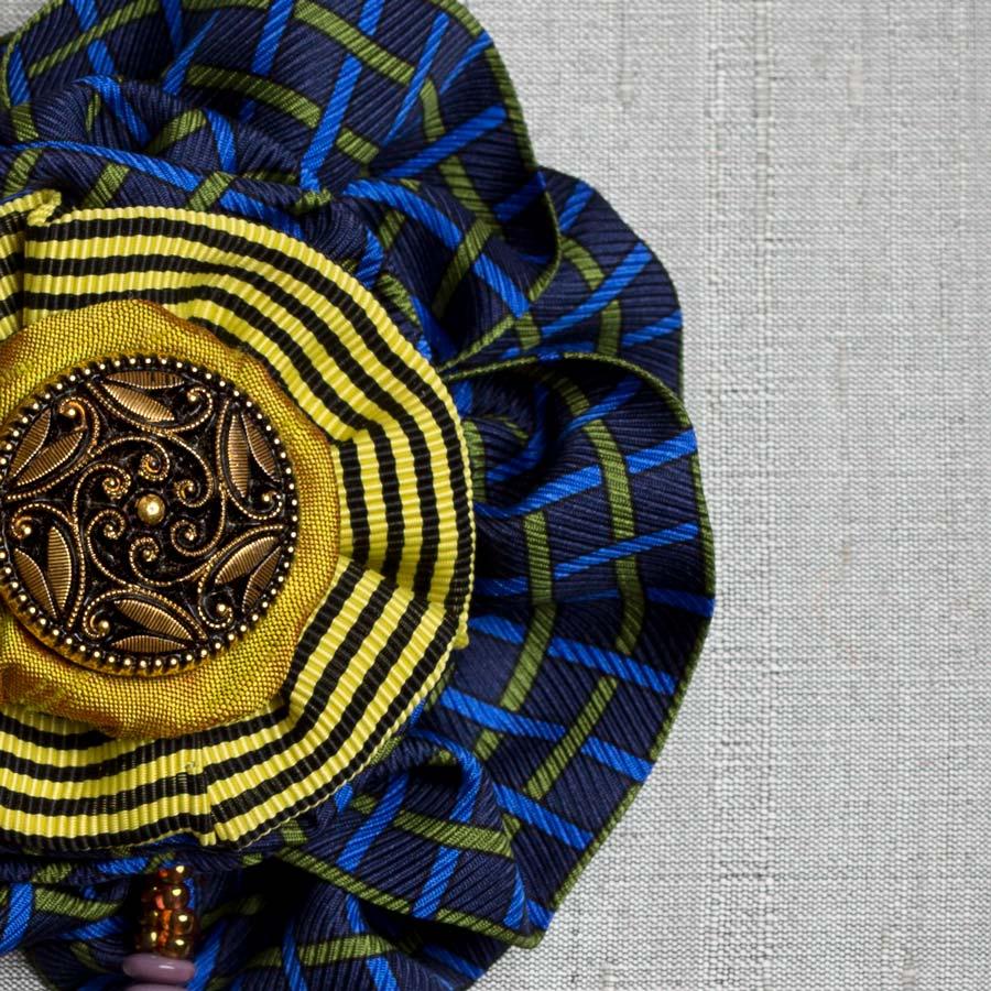 Victorian Silk Brooch Blue Statement Jewelry Textile Fiber Bold Handmade USA Exuberant Wearable Art