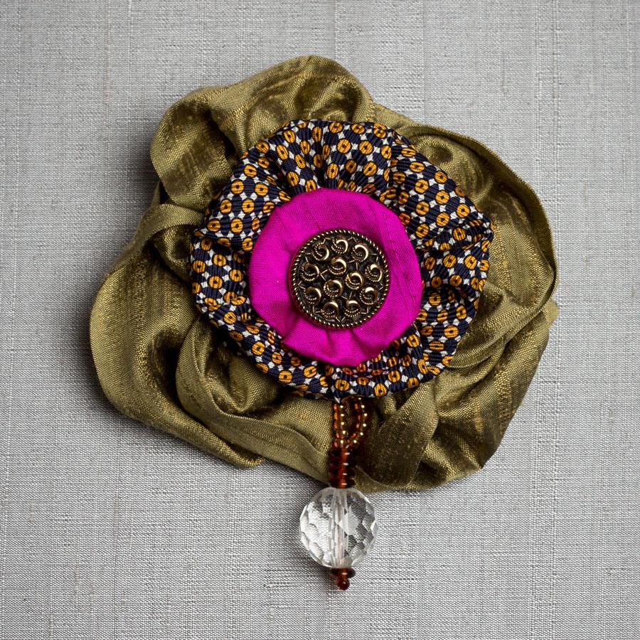 Victorian Silk Brooch Bronze Magenta Statement Jewelry Textile Fiber Bold Handmade USA Exuberant Wearable Art