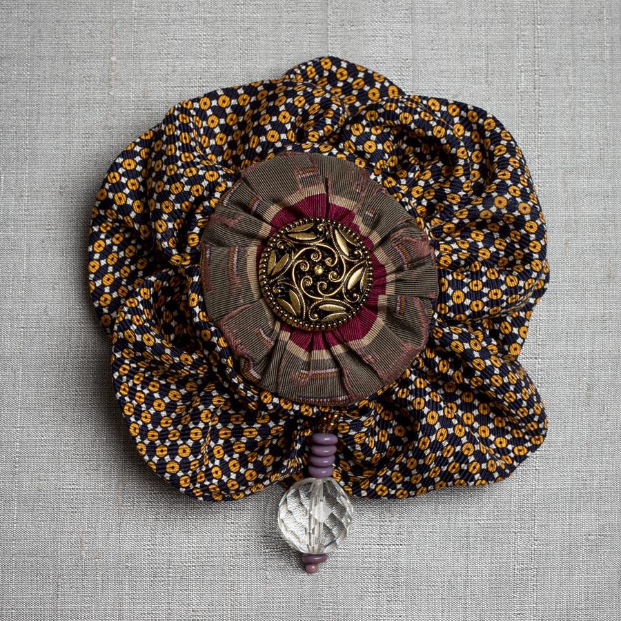 Victorian Silk Brooch Statement Jewelry Textile Fiber Bold Handmade USA Exuberant Wearable Art