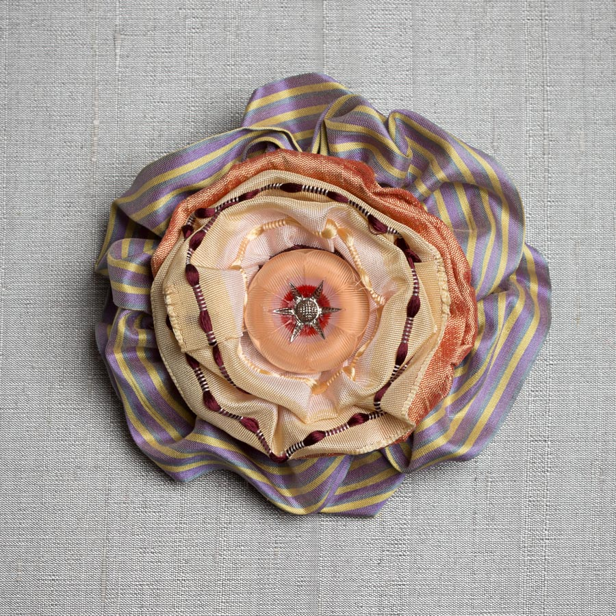 Victorian Silk Brooch Lavender Stripe Statement Jewelry Textile Fiber Bold Handmade USA Exuberant Wearable Art