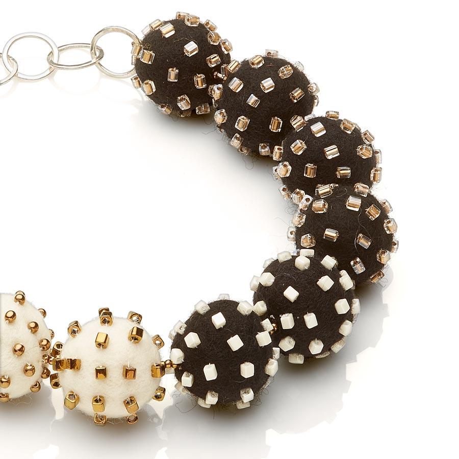 Big Felt Necklace Black White Statement Jewelry Textile Bold Handmade USA Exuberant Wearable Art Sterling Silver