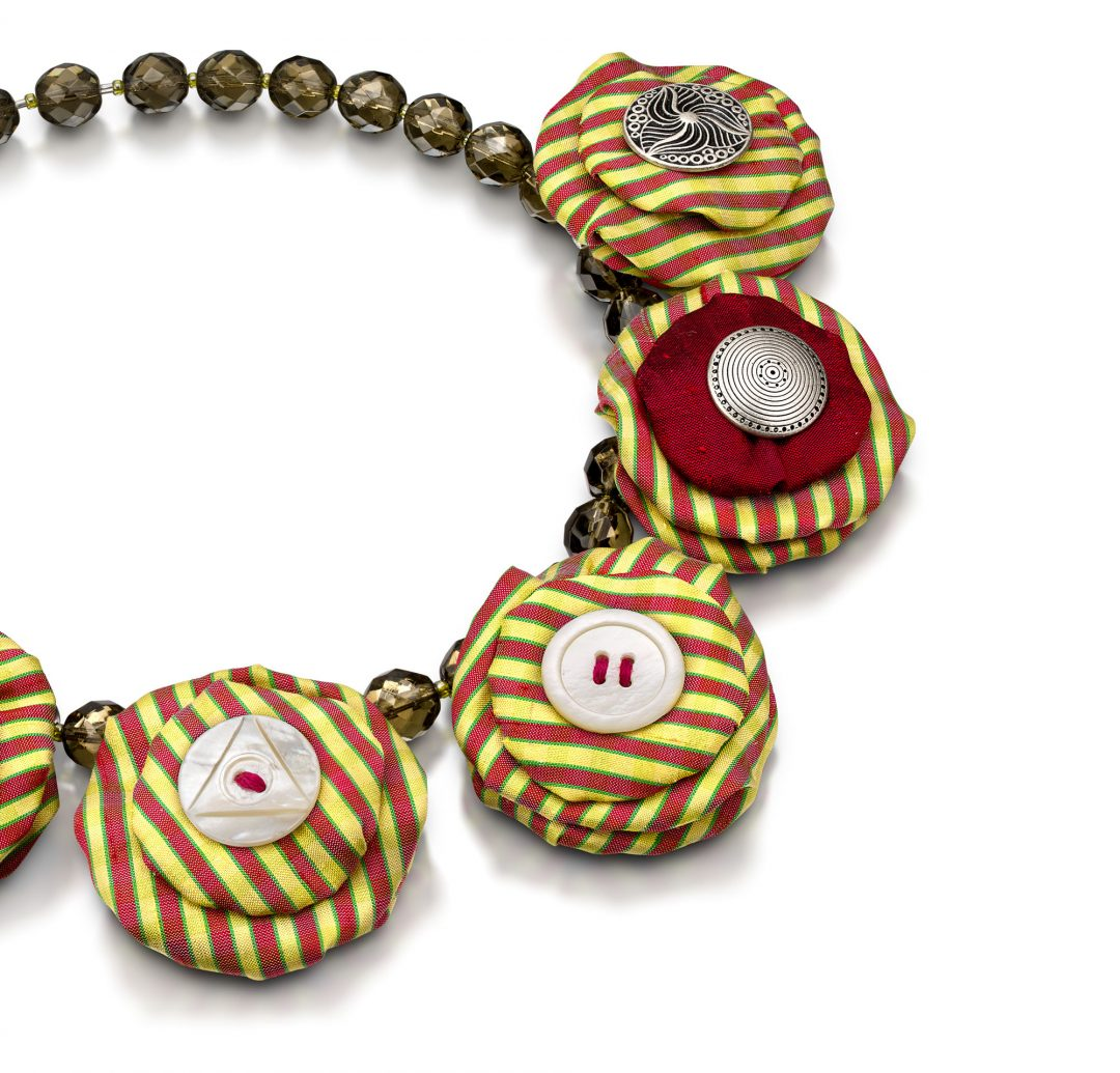 Silk Circles Necklace Red Yellow Stripe Statement Textile Jewelry Bold Handmade USA Exuberant Wearable Art Fiber