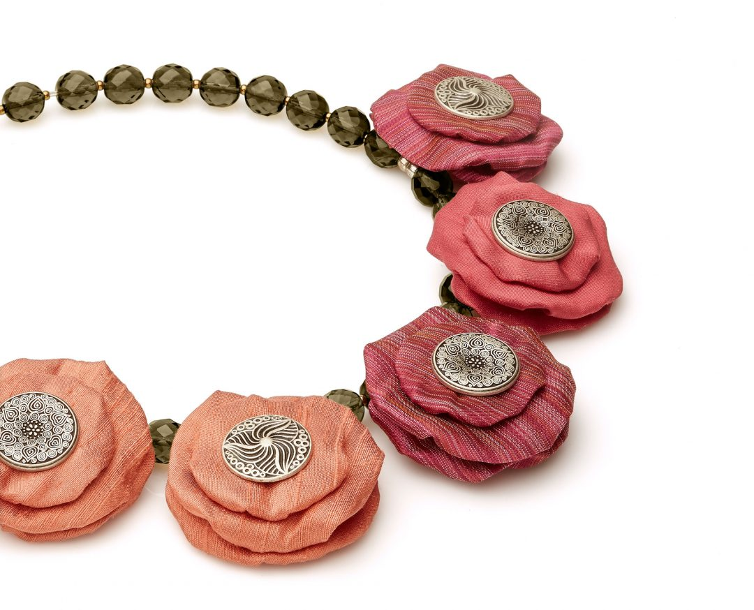 Silk Circles Necklace Rose Statement Jewelry Textile Fiber Bold Handmade USA Exuberant Wearable Art