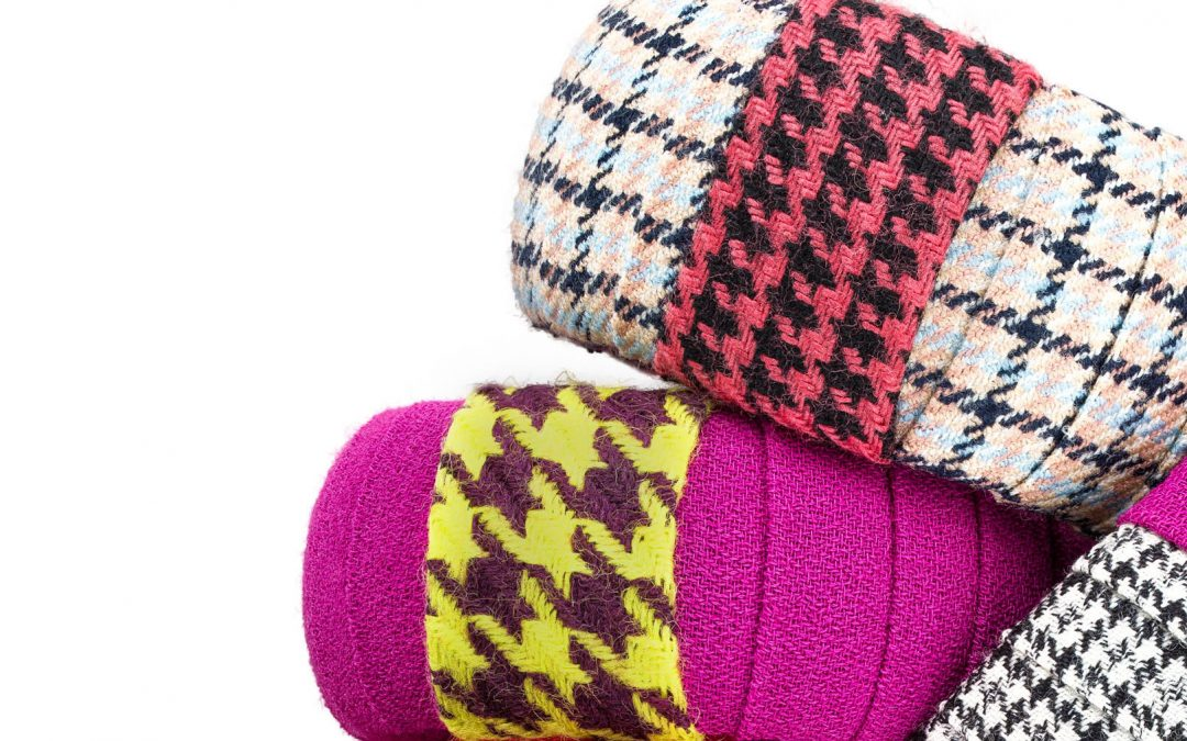 Wool Wrapped Bangles Magenta Exuberant Statement Textile Jewelry Wearable Art Bold Handmade USA Stripe Colorful