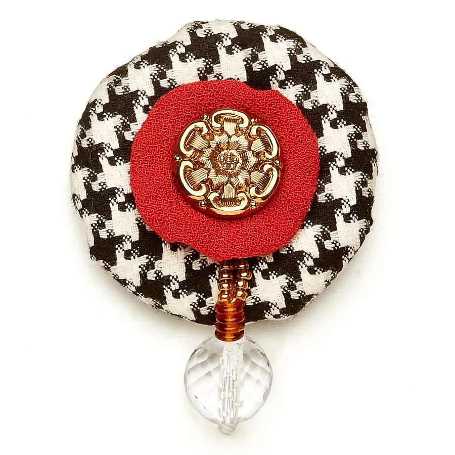Wool Bonbon Brooch Black White Red Statement Jewelry Textile Fiber Bold Handmade USA Exuberant Wearable Art