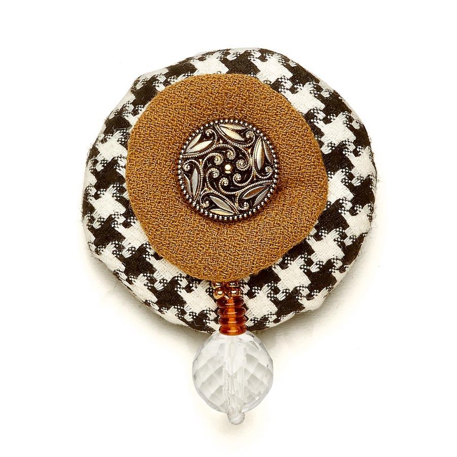 Wool Bonbon Brooch Brooch Black White Tan Statement Jewelry Textile Fiber Bold Handmade USA Exuberant Wearable Art