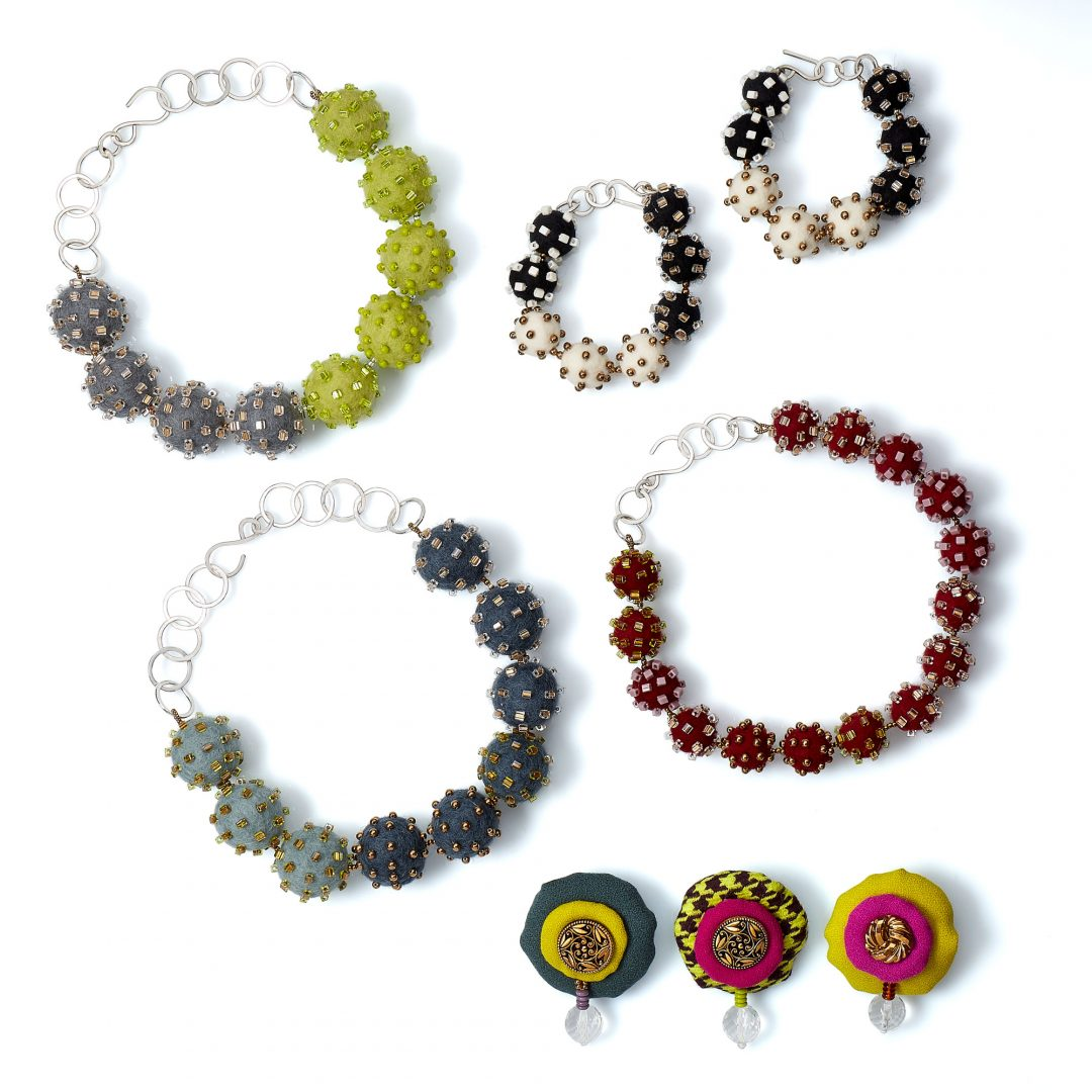 Neutral+Pop Collection Exuberant Statement Textile Jewelry Wearable Art Bold Handmade USA Necklace Bracelet Brooch