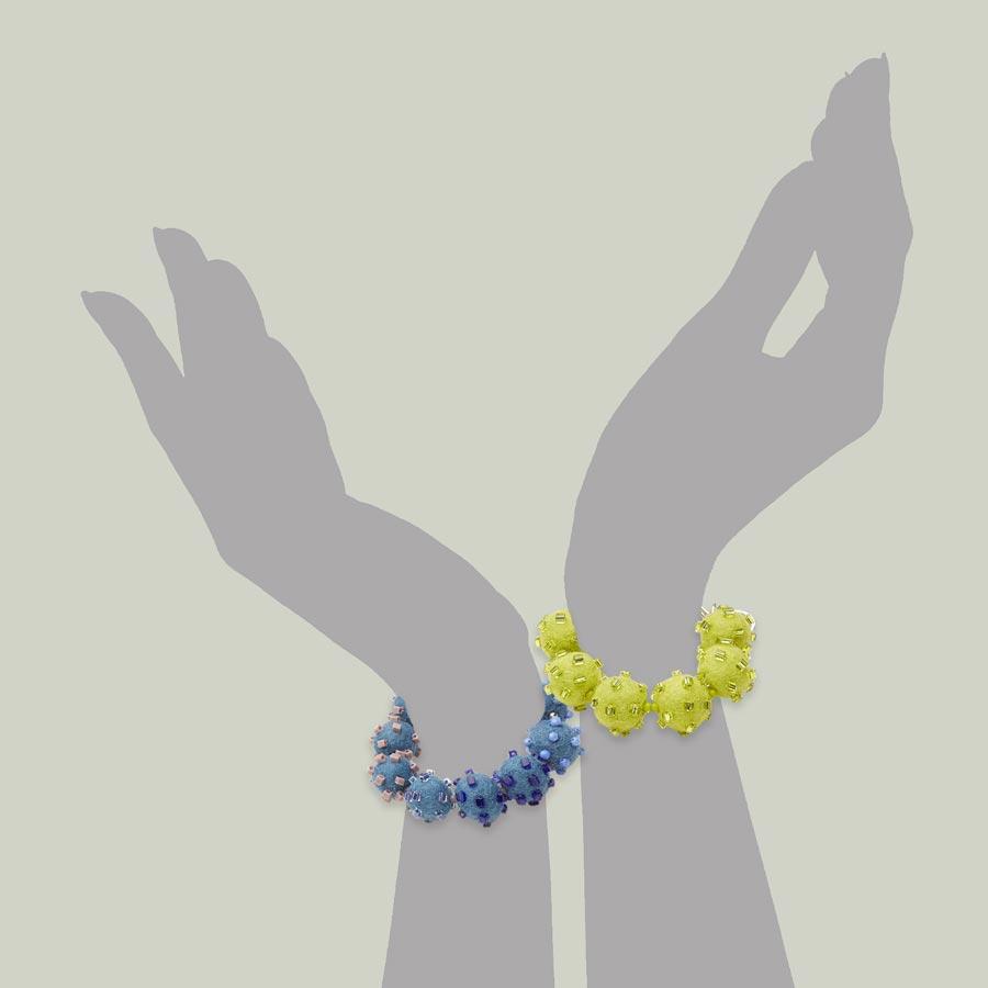 Fun Felt Bracelets Blue Green Statement Jewelry Textile Bold Handmade USA Exuberant Wearable Art Sterling Silver