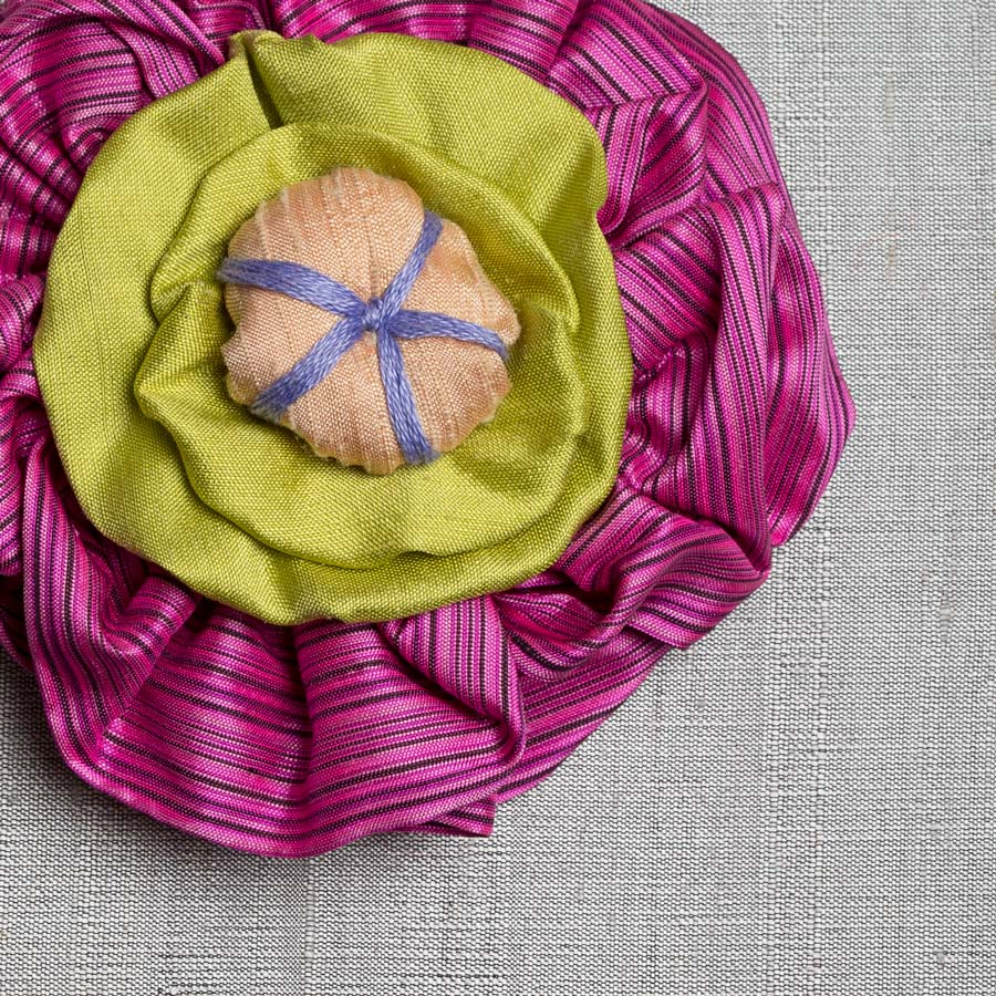 Victorian Silk Brooch Rose Apple Green Statement Jewelry Textile Fiber Bold Handmade USA Exuberant Wearable Art