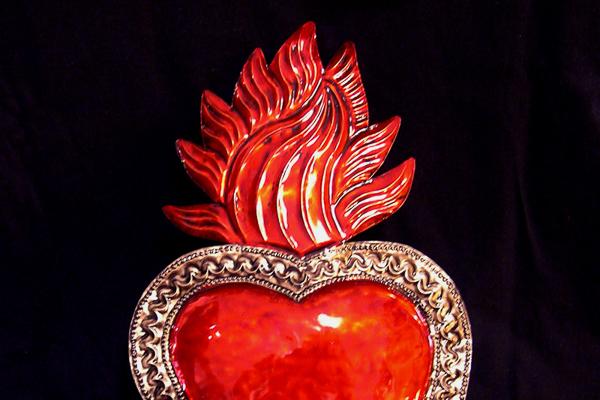 Flaming hearts.