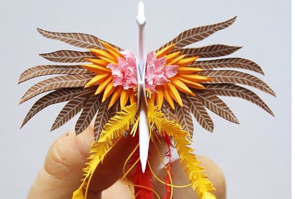 1000 meticulously folded paper cranes.