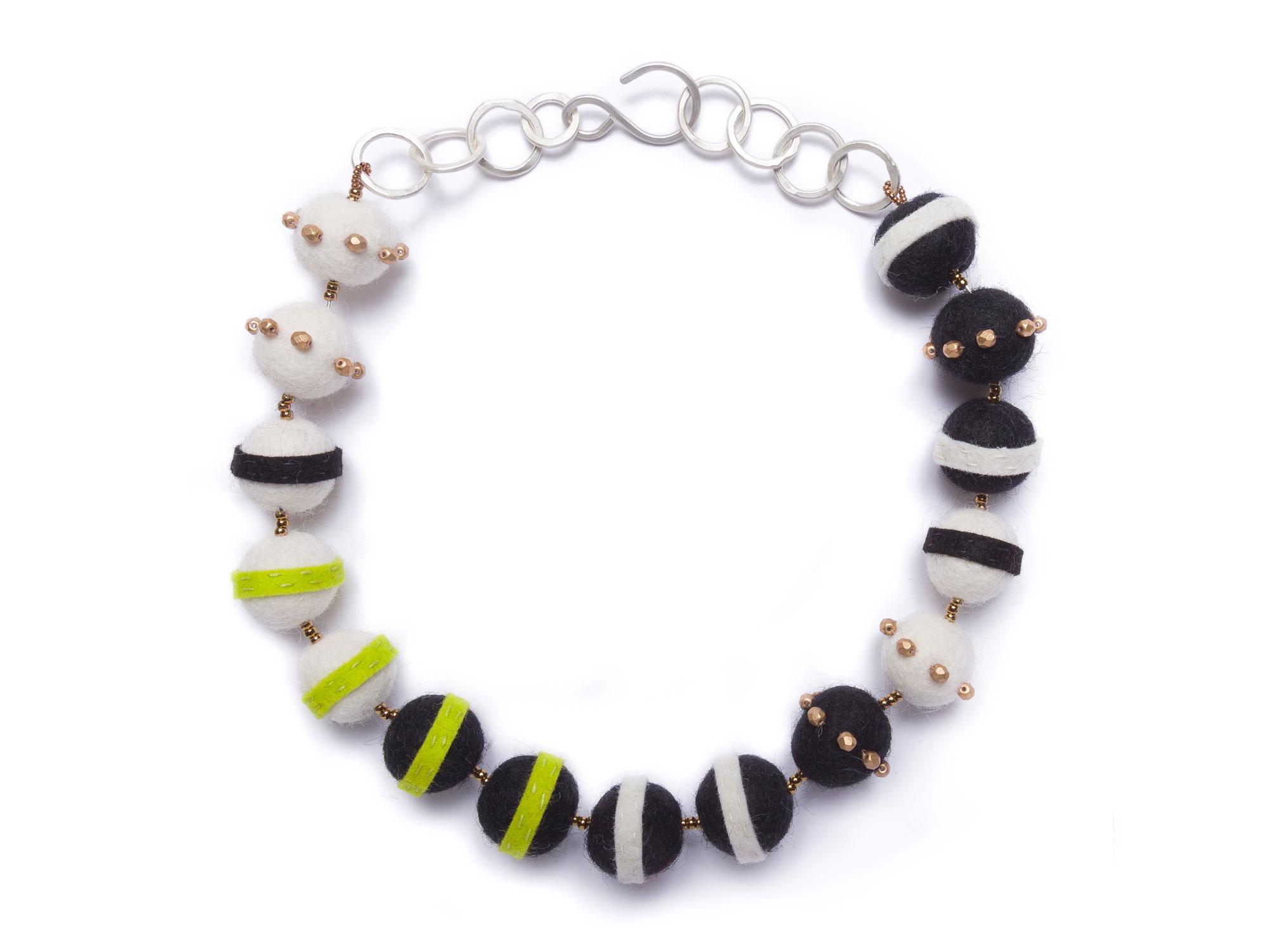 Small Felt Stripe Necklace BlackWhiteChartreuse